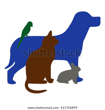 illustration of blue dog, brown cat, green bird and grey rabbit - stock photo