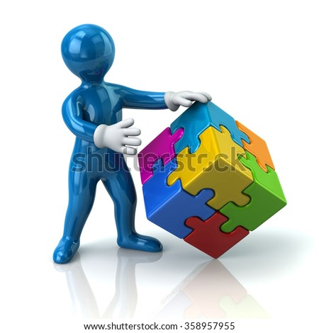 Illustration of blue man and colorful 3d puzzle cube - stock photo
