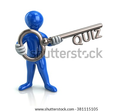 Illustration of blue man and silver key with quiz - stock photo
