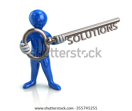Illustration of blue man and silver key with word solutions - stock photo
