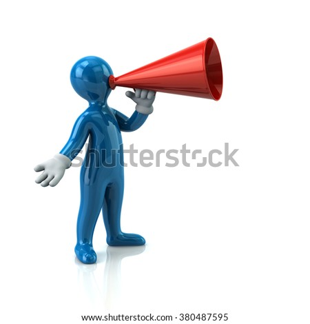 Illustration of blue man with a megaphone isolated on white background