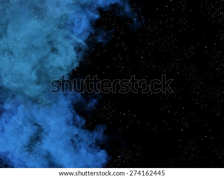 Illustration of blue nebula and stars in space - stock photo