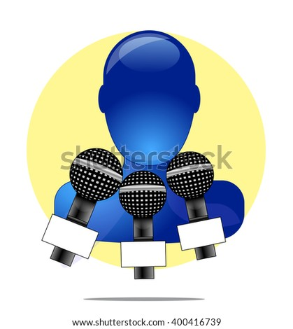 Illustration of blue person with three microphones with yellow circle background - stock photo