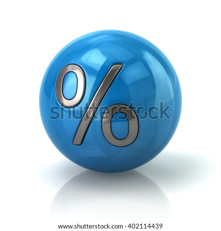 Illustration of blue sphere with the percent symbol isolated on white background - stock photo