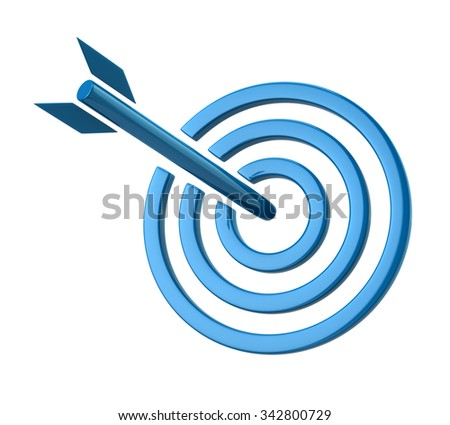 Illustration of blue target isolated on white background