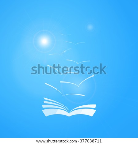 Illustration of book in blue sky with seagulls and sun. Learning and knowledge concept