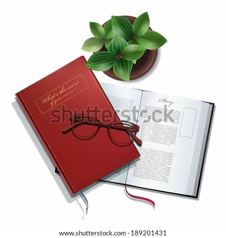 Illustration of books with reading glasses and a potted plant