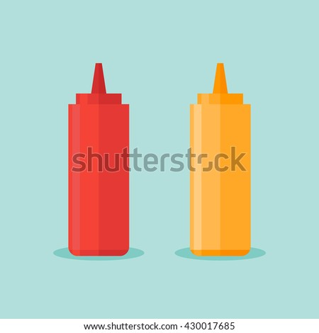 Illustration of bottles of ketchup and mustard on blue background in flat style