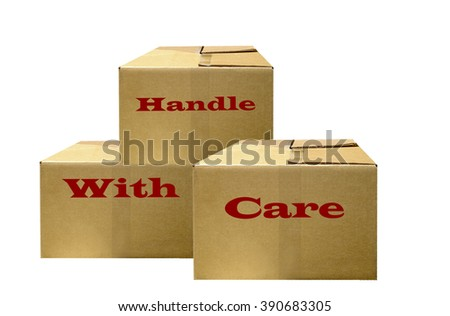 illustration of boxes marked handle with care