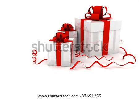 Illustration of boxes with christmas gifts