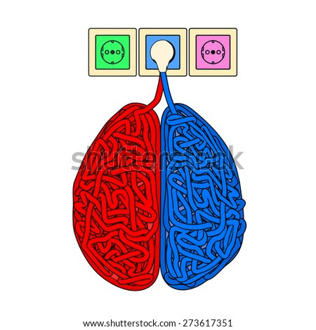 Illustration of brain in the form of tangled electric cables. - stock photo