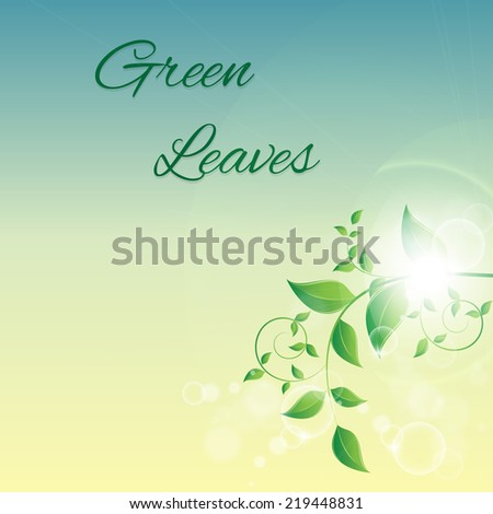 illustration of branch with fresh green leaves - stock photo