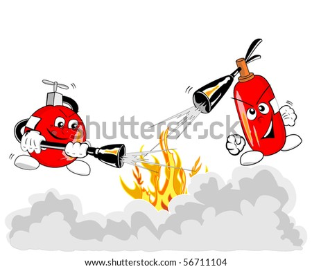 illustration of brave extinguishers in action - raster version - stock photo