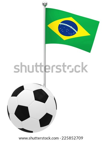 Illustration of Brazil's Flag coming out of a soccer ball or football - stock photo