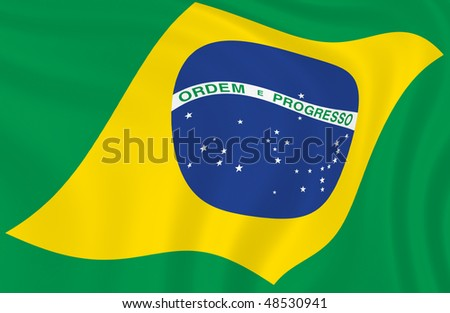 Illustration of Brazilian flag waving in the wind