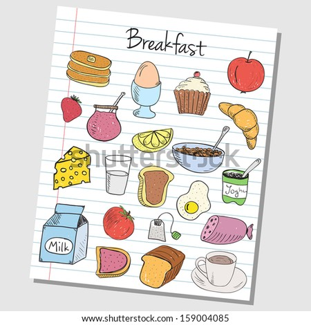 Illustration of breakfast colored doodles on lined paper - stock photo