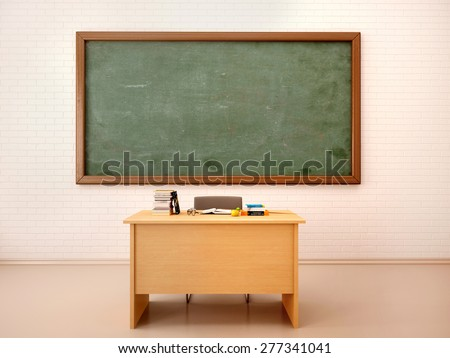 Illustration of bright empty classroom with blackboard and table. - stock photo