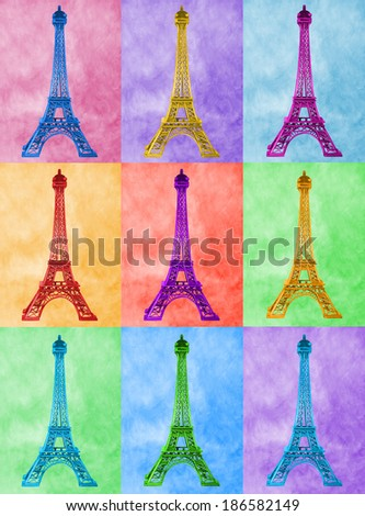 Illustration of bright, high-heel Eiffel Tower on colourful tiled. - stock photo