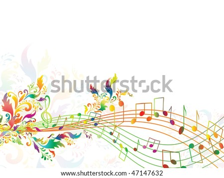 illustration of bright rainbow notes with multicolored floral. Copyspace for your text - stock photo