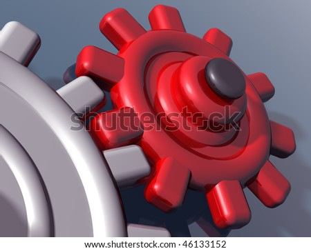 Illustration of brightly colored interlocking gears on a shiny surface - stock photo