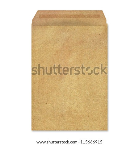Illustration of brown envelope isolated on white - stock photo