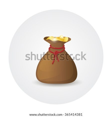Illustration of brown leather sack full of golden coins. Bag with money. Raster version - stock photo