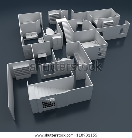 illustration of building floor layout elevation planning - stock photo