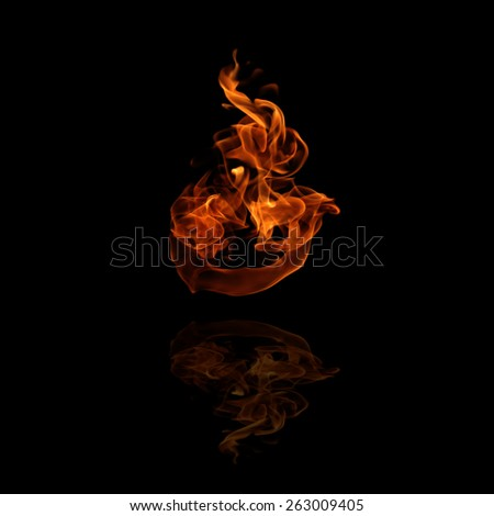illustration of burning fire flame on black background - stock photo
