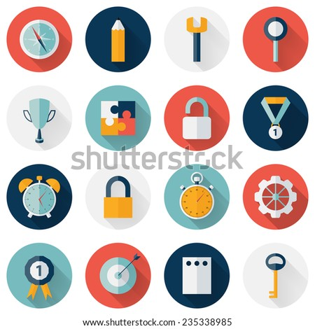 Illustration of Business circle flat icon set long shadows - stock photo