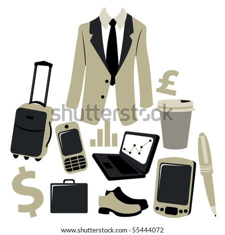 illustration of business man accessories set. - stock photo