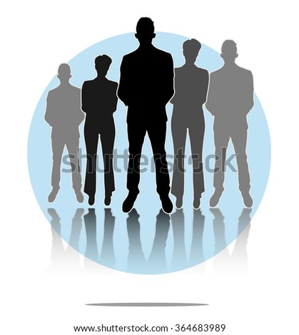 Illustration of business men and women group with light blue circle background - stock photo
