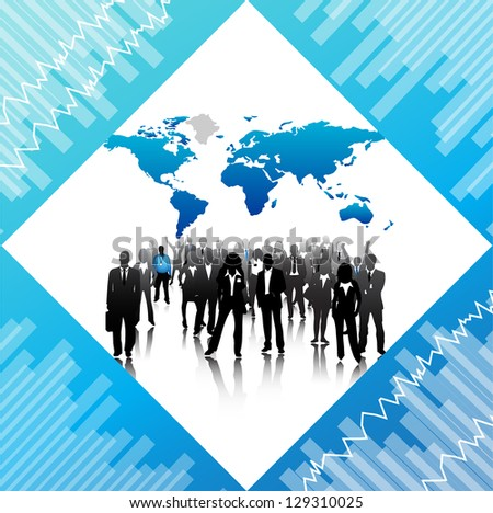 Illustration of business people and map. - stock photo