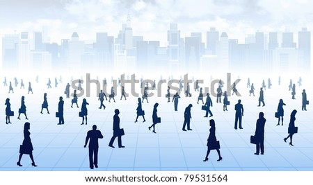 Illustration of businessman and woman doing business activity in big city