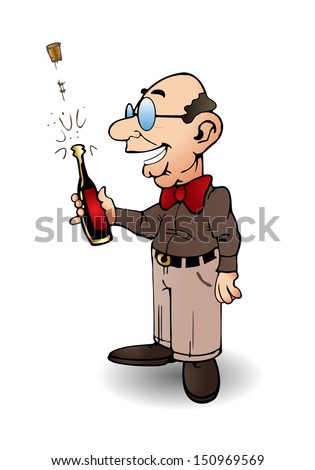 illustration of  businessman hold a bottle of wine over isolated background - stock photo