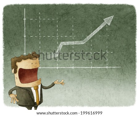 Illustration of businessman standing posture and graph finance - stock photo