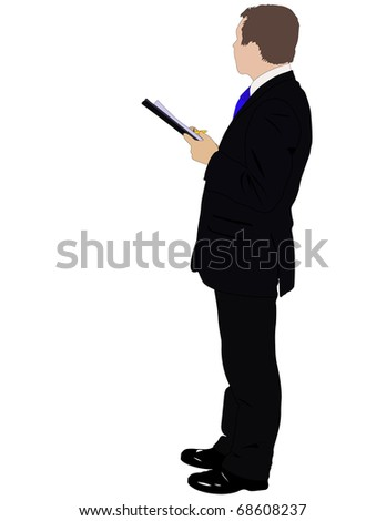 illustration of businessman with folder