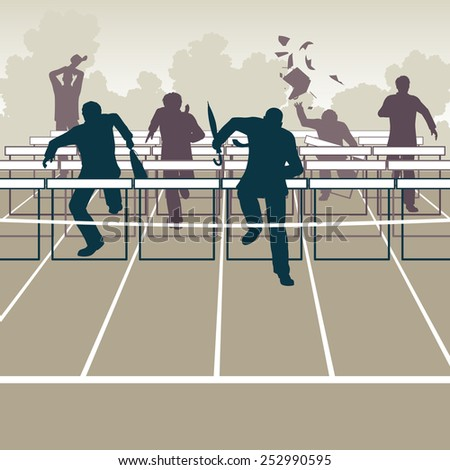 Illustration of businessmen racing to the finish over hurdle obstacles - stock photo