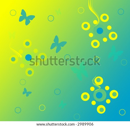 Illustration of butterflies and abstract flowers. - stock photo