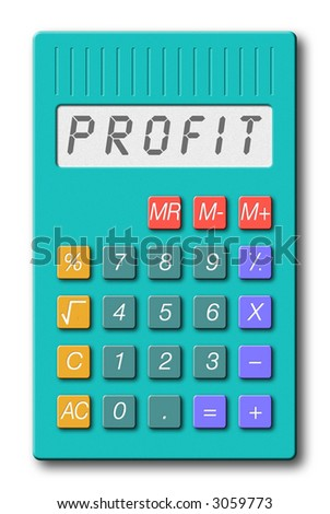 illustration of calculator; display reads 'PROFIT'