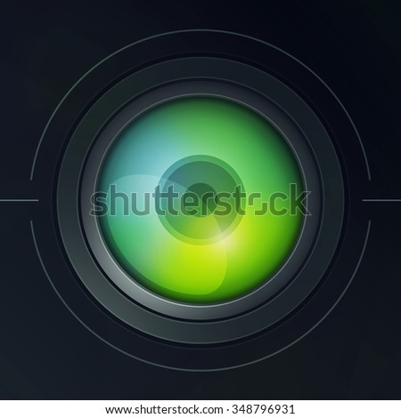 Illustration of camera lens with dispersion. Color 2.