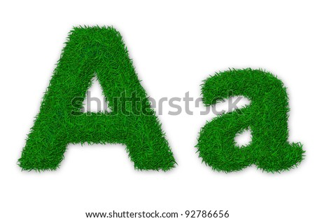 Illustration of capital and lowercase letter A made of grass - stock photo