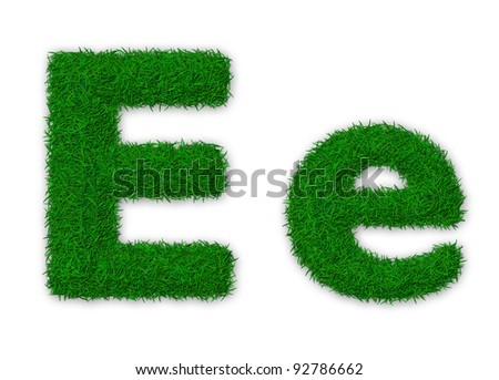 Illustration of capital and lowercase letter E made of grass - stock photo