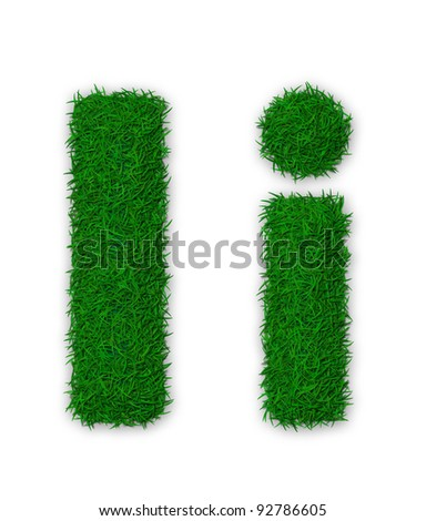 Illustration of capital and lowercase letter I made of grass - stock photo