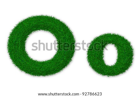 Illustration of capital and lowercase letter O made of grass - stock photo