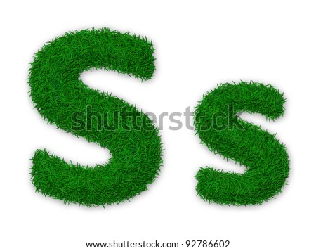 Illustration of capital and lowercase letter S made of grass - stock photo