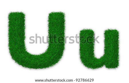 Illustration of capital and lowercase letter U made of grass - stock photo