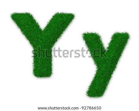 Illustration of capital and lowercase letter Y made of grass - stock photo