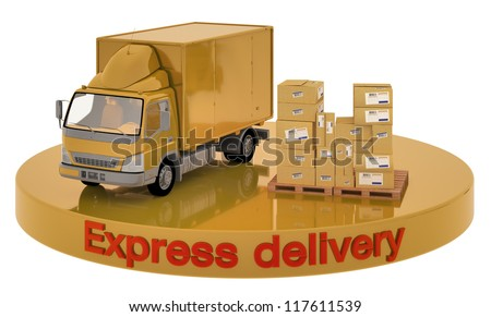 Illustration of car and boxes on the site that says Express Delivery - stock photo