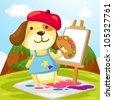 illustration of cartoon artist dog painting - stock vector