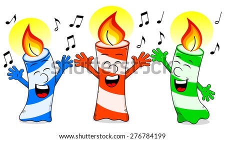 illustration of cartoon birthday candles singing a birthday song - stock photo